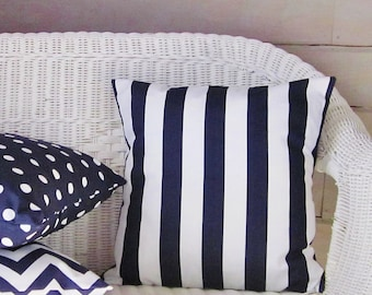 Ordinaire Navy Stripe Pillow Cover Decorative Throw Accent Indigo White 16x16 18x18  20x20 22x22 12x16 12x18 12x20 14x22 Lumbar Sofa Couch Zipper