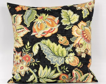 Black Floral Pillow Etsy