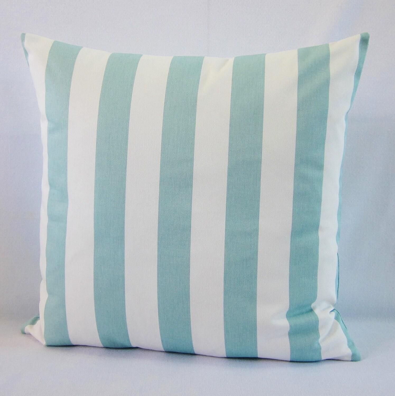 Aqua Stripe Pillow Cover Seaglass Pillow Aqua Throw Pillow