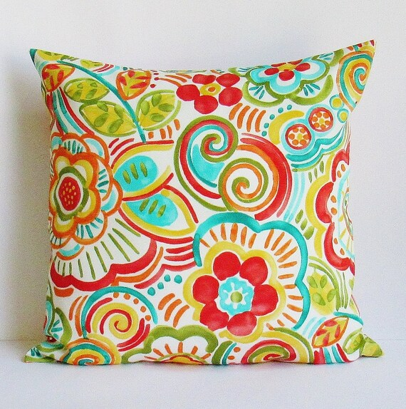 Multi Colored Outdoor Pillow Cover Outdoor Throw Pillow Etsy