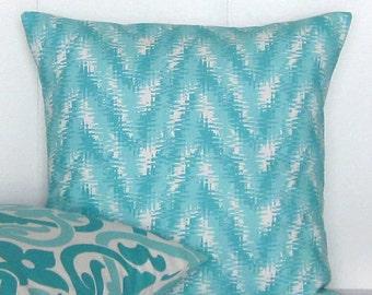 Aqua Chevron Pillow Cover Decorative Throw Accent Sofa Couch Bed Lumbar 16x16 18x18 20x20 22x22 12x14 12x16 12x18 12x20 14x22 Zipper
