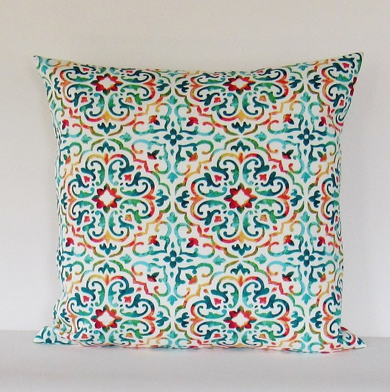 Outdoor Pillow Cover Multi Colored Pillow Turqouise Pillow Etsy