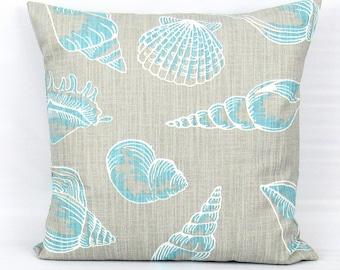 Nautical Pillow Cover, Seashell Pillow, Beach House Pillows, Nautical Throw Pillow, Gray Pillow,Aqua Pillow, Aqua Gray Pillow Cover, Zipper