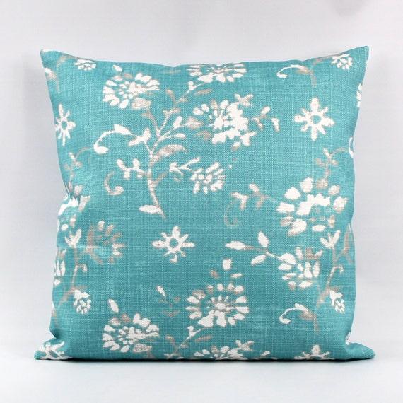 Aqua Outdoor Pillow Cover Aqua Floral Outdoor Pillow Aqua Etsy