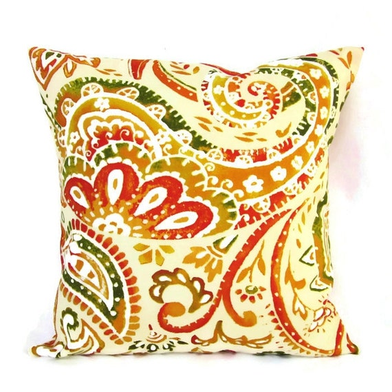 Outdoor Pillow Cover Decorative Throw Paisley Accent Patio Etsy