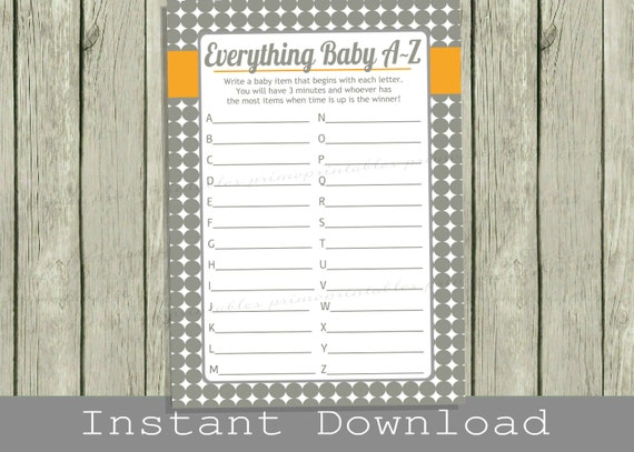 Baby Shower Game Cards Baby Items A To Z Game Gray Orange Etsy