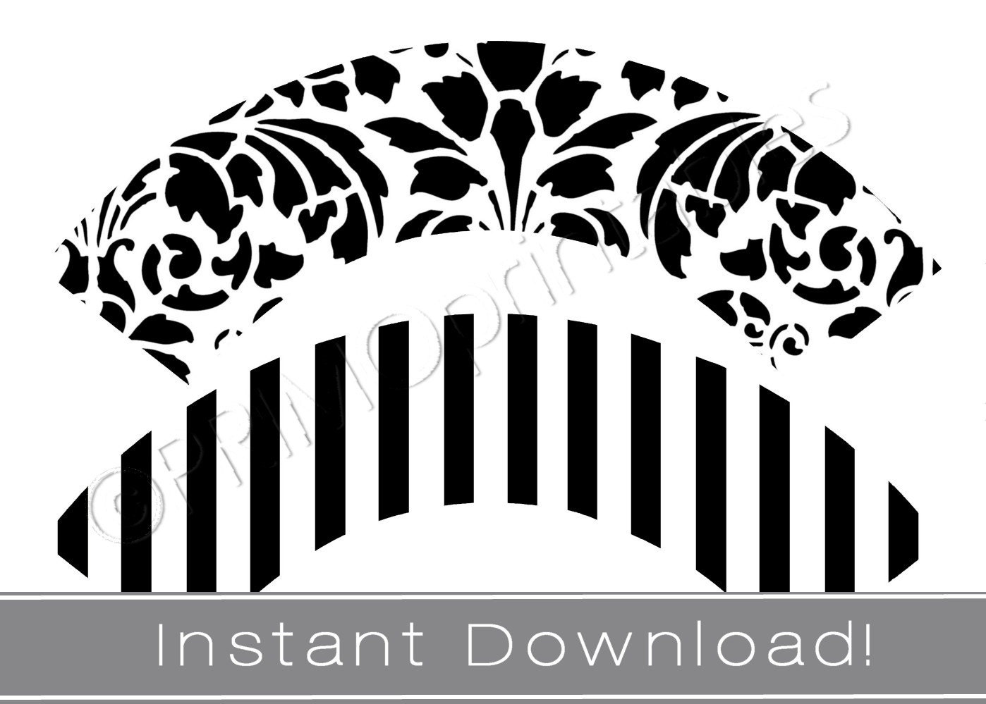 Printable cupcake wrappers INSTANT DOWNLOAD black and White | Etsy