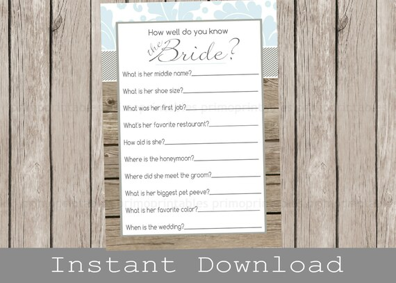Rustic Bridal Shower Game How Well Do You Know The Bride Light