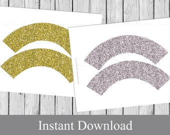 Printable cupcake wrappers Faux Gold and Silver Glitter, INSTANT DOWNLOAD, printable DIY cup cake wraps, faux glitter party decor