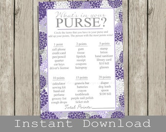 Baby Shower Purse Game Printable Cards , purple hydrangeas,  INSTANT DOWNLOAD , diy digital file, print your own , whats in your purse? game
