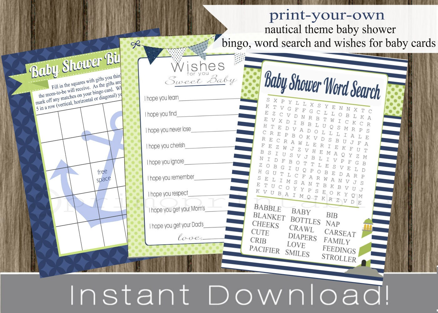 photo about Free Printable Nautical Baby Shower Games called Nautical Little one Shower Video games Bingo, Needs for Youngster and Term Seem playing cards blue environmentally friendly Immediate Down load do-it-yourself electronic printable history , babyshower