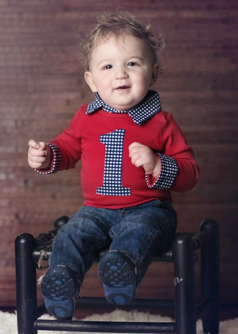 Baby Boy First Birthday Outfit Cake Smash Red
