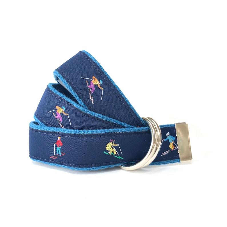 Boys Belt Skier Belt Canvas Belt Child Belt Skiing Belt Navy Toddler Belt Gift for Skiers