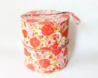 Vintage Pink And Red Flower Print Hat Box, Zip Up Vinyl Hat Storage  Container With Handle