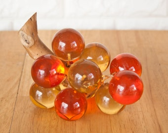 Vintage 1960's Orange Yellow Lucite Grapes Resin Fruit with Driftwood Stem