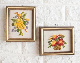 Vintage Pair Mini Flower Crewel Embroidery Pictures, Bouquet 1970s Boho Decor