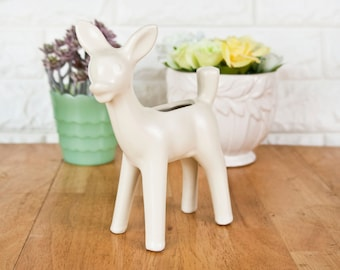 Vintage White Deer Fawn Planter, Kitschy Small 1950s Succulent Pot, USA Pottery