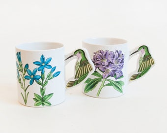 Vintage Pair Hummingbird Mugs, Humming Bird Coffee Cups Unique Gift