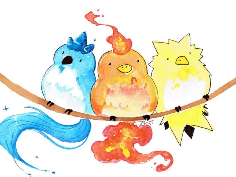 1925ee05 Cute Pokemon Articuno Moltres Zapdos Watercolor Art Print | Etsy