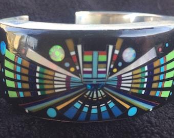 Gorgeous signed Southwest Zuni Style Multiple Stone Micro Inlay Cuff Bracelet
