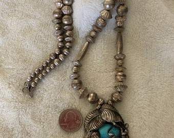 Sold to Jylinn - please do not buy - on layaway - Unusual Vintage SW Sterling Morenci pendant on Sterling beaded Necklace