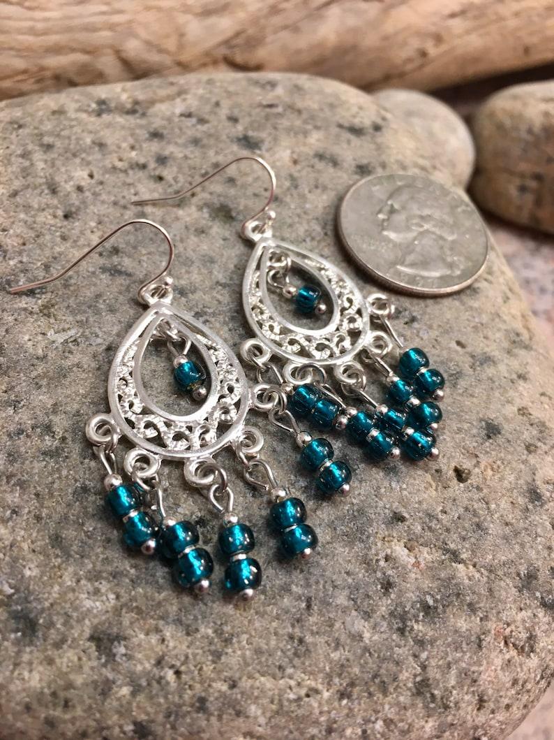 dangle earrings Teal glass chandelier dangle earrings silver tone, dark teal earrings chandelier earring