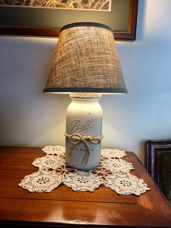 Mason Jar Lamp Table Lamp Country Rustic Lamp Farmhouse Etsy
