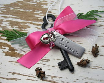 Key to my heart skeleton key ornament - hand stamped - pink and white ribbon - tiny hearts - pink crystal - heart locket charm - romance