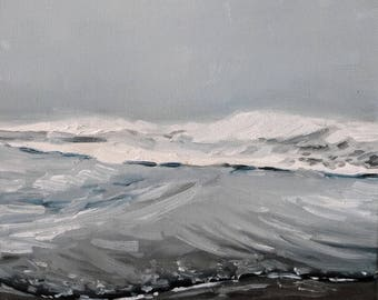 Free Shipping- Ocean Waves in the Morning Fog- Original Landscape Oil Painting- Minimalist Seascape- Impressionist Monochrome Water Art