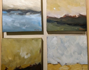 Set of Four Abstract Impressionist Landscapes- Original Oil Painting Set- Small Minimalist Art- Moody Melancholy Contemplative