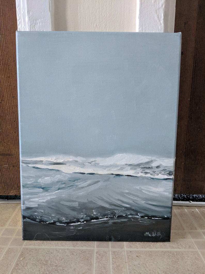 Impressionist Monochrome Water Art Ocean Waves in the Morning Fog Final Sale Original Landscape Oil Painting Minimalist Seascape