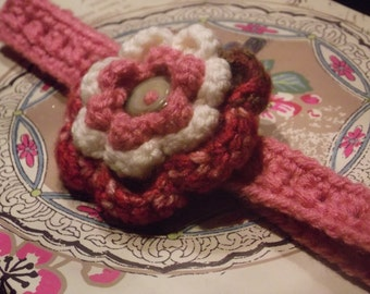 Girls Crochet Flower Headband