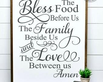 Bless The Food Before Us The Family Beside Us And The Love Between Us, Framed Wood Sign, Christian Home Decor, Kitchen Decor, Dining Room