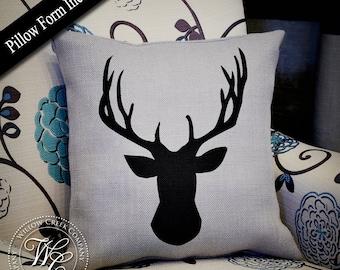 Woodland Deer Pillow, Burlap Pillow, Stag Head Pillow, Antler Pillow, Deer Head Pillow, Rustic Pillow, Woodland Nursery, Gift for hunter