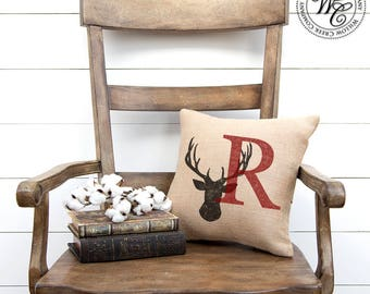 Deer Antler, Woodland Deer Pillow, Woodland Decor, Stag Head Pillow, Antler Pillow, Deer Head Pillow, Rustic Deer Pillow,