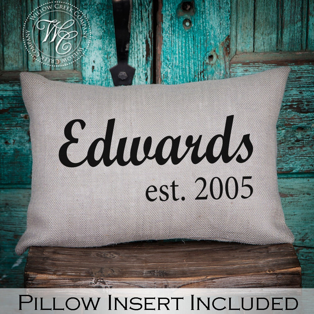 50 Farmhouse Style Gift Ideas From Etsy: Wedding Gift Farmhouse Decor Burlap Pillow Personalized