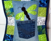 Green Dragonfly Recycled Denim Quilted Tooth Fairy Pillow