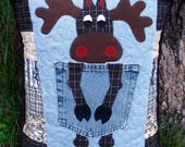 Brown Plaid Northern Moose Quilted Denim Pocket Pillow Recycled Denim