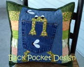Green Spotted Hungry Frog Quilted Recycled Denim Jean Pillow