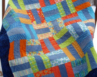 Pattern for 'Denim Rails' Recycled Denim Jeans Quilt
