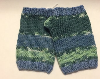 Fingerless gloves - Blues and Greens