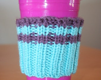Coffee cup cozy - aqua and purple stripes