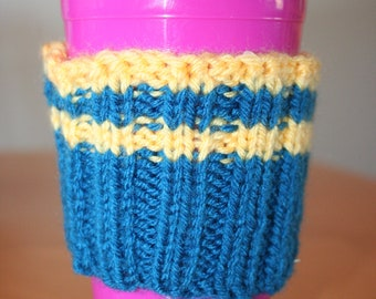 Coffee cup cozy - royal blue and yellow stripes