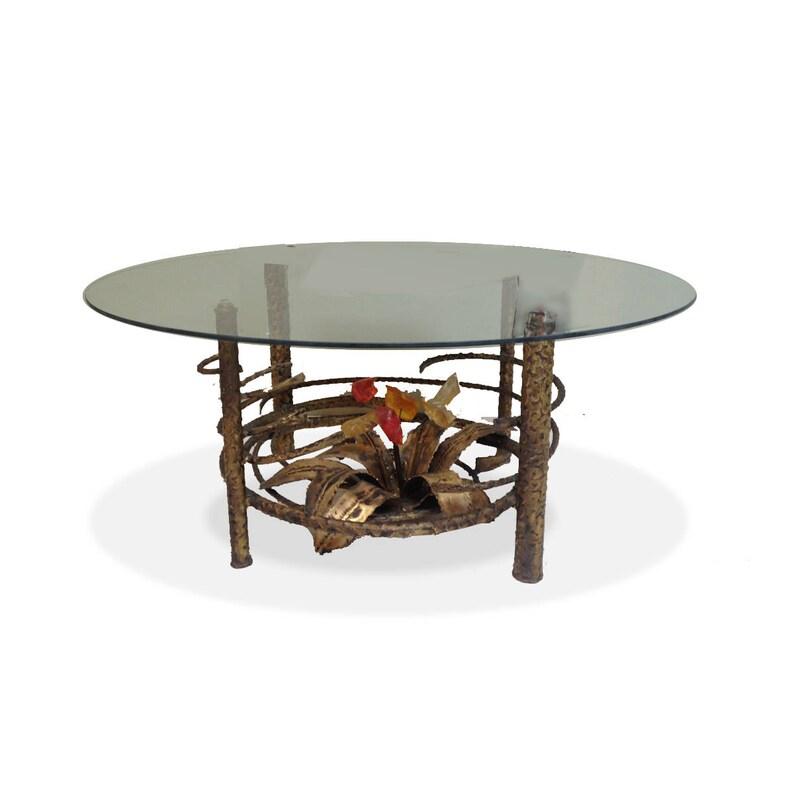 59f7fc58016b Mid Century Modern Brutalist COFFEE TABLE Vintage Bronze and