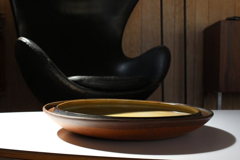 Mid Century Modern very large ceramic dish studio pottery signed  Heine Miller FREE SHIPPING