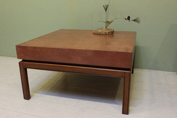 Mid Century Modern Coffee Table With Leather Top Square Etsy