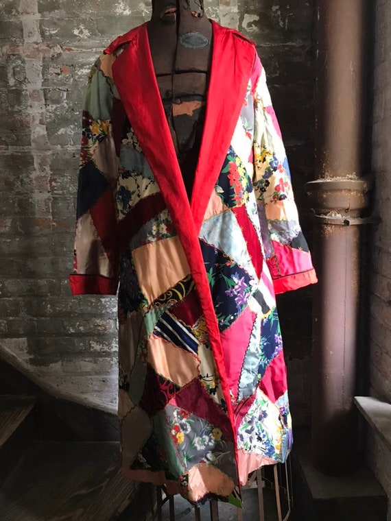 1920's vintage silk patchwork coat