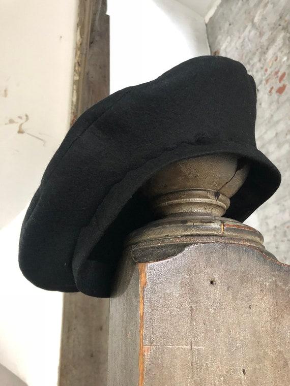 1940 Black Wool Beret - image 2