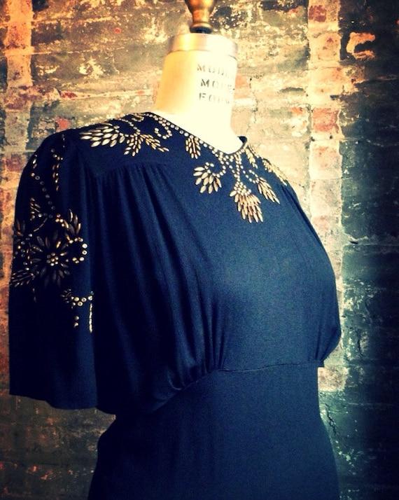 1940's Black and Gold Dress - Studded vintage