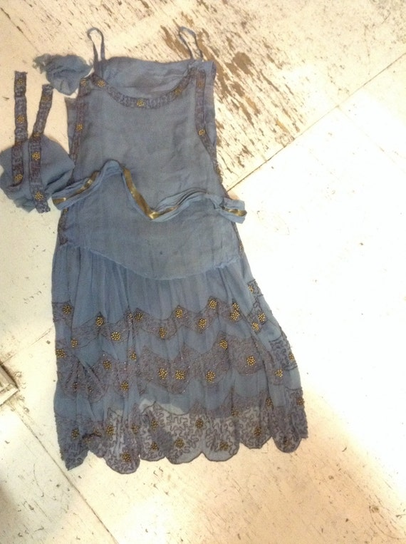 1920's Beaded Chiffon Flapper Dress